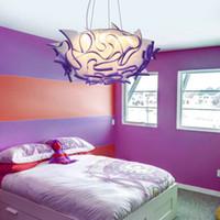 lampes suspendues fleur achat en gros de-Mordern Flower Design Led Plafonniers Télécommande Controller Dimmable Chambre Led Lampe Suspension Salon Plafonnier Luminaires