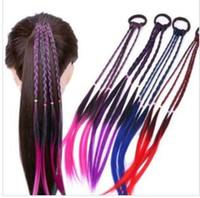 Wholesale rubber hair braiding resale online - Children Gradient Color Long Wig Ponytail Girls Headwear Rubber Bands Braid Hair Accessories Stage Performance Headress Hair Decor A122109