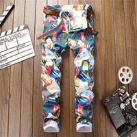 Wholesale white male jeans resale online – designer New winter d elastic digital printing jeans male nightclub stylist man tight pants