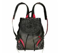 bolsa inferior superior al por mayor-2019 superior del diseñador bolsas de piel de cordero pico con cristal rojo giros parte inferior de color negro packbag