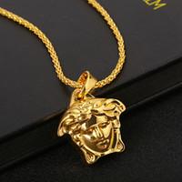 moda takı kolye satışı toptan satış-Erkekler için sıcak satış hiphop medusa Kolye Kolye İsa mesih altın kolye Kolye PUNK Gerdanlık moda Takı