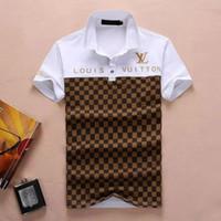 mens polo tasarımı toptan satış-Yaz Erkek Lüks kaliteli pamuk Polo Gömlek Renkler Kısa Kollu Baskılı Yaz Tişörtlü Aşağı Yaka Tasarım Tops
