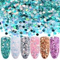 acryl strass diamant geformt großhandel-Danceyi 6 stücke 3D Nagel Glitter Flocken Pailletten Pulver AB Acryl Pferd augenform Strass Nail art diamant DIY awe013