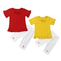 meninas 12 meses de roupa venda por atacado-Bebê recém-nascido Meninas Summer Outfit Manga Curta Ruffle T Shirt + Calças Set (Vermelho, 6-12 meses)
