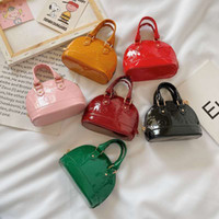 Wholesale girls princess bags resale online - Newest kids Patent leather embossed Mini shell handbag baby girls princess purse kids designer handbags girls coin purses