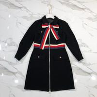 diseñador de moda vestido de la pista al por mayor-Fashion-Milan Runway Dress 2019 Nuevo Black Turn Down Collar Mangas largas Cremallera Vestidos De Festa Diseñador Vestido de rayas para mujer 827882