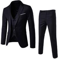 ingrosso migliori abiti da sposa invernali-Abiti da uomo per la cerimonia nuziale Slim 3 pezzi Suit Blazer Business Party Jacket Vest Pantaloni Mens Suit con pantaloni D90509 T190619