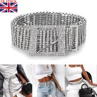 cinturones de diamantes de imitación de las señoras al por mayor-Mujer de plata Rhinestone lleno Diamante de las señoras de la cintura del encanto de la correa de la aleación de diamantes Accesorio de moda Casual Un tamaño para adultos