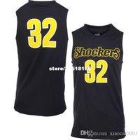 faculdade rápida venda por atacado-Personalizado # 32 Wichita State College Basquete Jersey remendo bordado barato Jerseys homens tamanho S-5XL frete grátis rápido