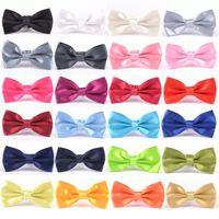 Wholesale mens plain ties resale online - Mens Candy Color Bow Tie Classic Boy Plain General Wedding Party Neckties Fashion Butterfly Bowknot Tie TTA1227