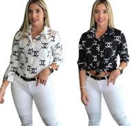 camisa de algodão branco rendas mulheres venda por atacado-designer de marca carta blusa camisa impressão moda manga longa no início da primavera bn marca de moda de luxodesgaste da Chanel mulheres