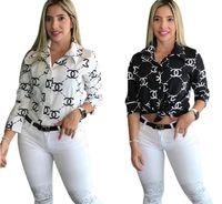 diseñador de moda ropa formal al por mayor-carta blusa diseñador de la marca de impresión camisa de la manera larga de la manga bn de lujo marca de moda a principios de primaveraropa de las mujeres de Chanel