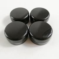 schwarze augenflasche großhandel-3gram Cosmetic Probe Leeres Glas Kunststoff runder Topf Schwarz Schraubverschluss Deckel, Kleine Tiny 3g Flasche, für Make Up, Lidschatten, Nägel, Pulver, Farbe