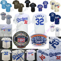 ingrosso pullover blu bambino-Sandy Koufax Jersey Hall Of Fame HOF Con la prima edizione delle World Series Patch Brooklyn Dodgers Maglie Uomo Donna Cream Baby Blue White Grey
