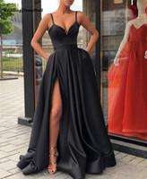 vestido de noche negro fuera del hombro al por mayor-Negro fuera del hombro Satén Vestidos de noche Lado largo Dividir Vestidos de baile Vestidos de fiesta elegantes para mujer