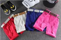 chicos sin ropa al por mayor-Summer Candy Boys Shorts Niños Shorts niños pantalones de agujero Pantalones casuales de bebé sin cinturón Ropa para bebés Ropa de niño