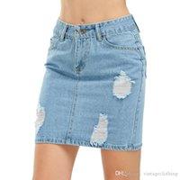 ingrosso mini roccia sexy-Gonna tubino denim donna blu lavato sexy mini gonne di jeans strappati moda casual tasca roccia gonna estiva S-3XL