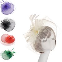 Wholesale fascinators wedding hats bride for sale - Group buy Chapeaux Mariage Colours Red Pink Blue Wedding Bride Hats With Clip Wedding Hair Fascinators and Hats Bridal Accessories