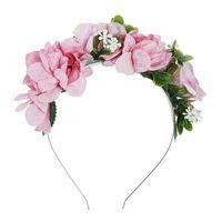baş bantları için çiçek başları toptan satış-Haimeikang Sevimli Yonca Çiçek Çelenk Kafa Çerçeve Hairband Kızlar Kadınlar için Kumaş Çiçekler Taç Kafa Saç Aksesuarları