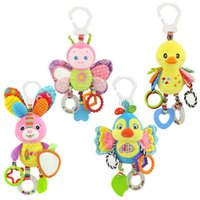 Wholesale baby toys resale online - Lovely animal butterfly rabbit duck bird baby kids stroller bed around hanging bell rattle activity soft toy outer baby plush toys