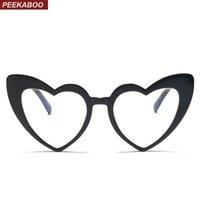 quadros de óculos de coração preto venda por atacado-Peekaboo presente decoração de natal para óculos coração em forma de coração preto barato óculos de armação mulheres olho de gato feminino 2018