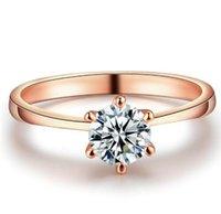 diamante redondo de 6mm venda por atacado-Top qualidade 925 anel de diamante de prata esterlina para as mulheres rose gold cor seis garra zircônia cúbica corte redondo 1 quilate 6mm jóias finas