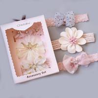 saç elmas şeritler toptan satış-Bebek Kafa Çiçek Taç Diamond Polka Dot Baskılı Bow Dantel Bantlar Tiaras Saç Bantları 3 adet / 2 Renkler Çocuklar Saç Aksesuarları M481 set