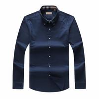 ingrosso grandi abiti da uomo-Camicia a maniche lunghe da uomo autunno e inverno di grandi dimensioni Uomo UK Camicia POLO di marca Oxford Camicia da lavoro Oxford Camicie da equitazione S-3XL