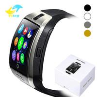 kameralı piller toptan satış-Q18 Dokunmatik Ekran Ile Bluetooth Akıllı Izle Büyük Pil Desteği TF Sim Kart Kamera iphone Android Telefon için Smartwatch