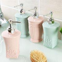 sabun kremi dağıtıcısı toptan satış-Basarak Oyma Plastik Doldurulabilir Krem Losyon Dispenser Şişeleri Konteyner Kozmetik Şampuan Sıvı Sabun Duş için wh0174
