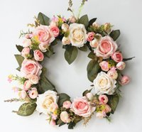 Wholesale wedding car ribbons for sale - Group buy Round Shaped Rose Hanging Wreath Flowers Garland With Silk Ribbon for Home Door Wall Decor Wedding Car Decoration Flowers GB240