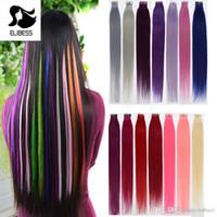 remy insan saç uzatma renkleri toptan satış-7A İnsan Saç Uzantıları Bant Bant Saç 40 adet Remy brezilyalı Düz saç 10 renkler gri # pembe # mor # yeşil # kırmızı # yelllow # mavi # 60 #