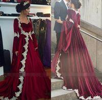 canos princesa venda por atacado-Vintage medieval princesa vestidos de noiva de veludo lace edge tubulação borgonha manga longa vestido de noiva dubai árabe vestido de novia bc2508