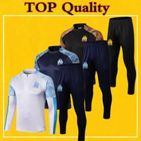 ingrosso i vestiti dei capretti di qualità-Survetement Marsiglia Tuta Adulto Uomo Bambini 2020 Maillot OM Soccer Training Suit 19 20 Kit manica lunga di alta qualità