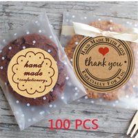 Wholesale polka dots plastic bag resale online - 100pcs Plastic Transparent Polka Dot Candy Cookie Gift Bag DIY Self Adhesive Pouch Decorative Stickers for Baking Supplies