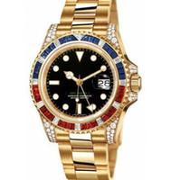 relógio de aço estrela venda por atacado-2019 New completo diamante luxo GMI estrela de aço inoxidável relógio de diamantes relógio de pulso mecânico automático dos homens