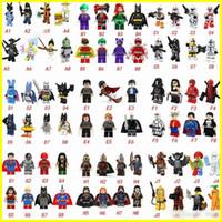 vengadores superhéroes al por mayor-Más caliente tipo 70 Minifig Super héroes Vengadores Spiderman Guerras del espacio Harry Potter Hobbit Figura Super héroe Bloques Figuras de acciónJuguetes