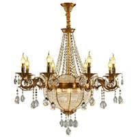 ingrosso ha condotto la luce del pendente di cristallo della sfera-Luci di lusso Chiesa di candela di cristallo Lampadari industriale Oro Sfera Srystal Lustri Chandelier Lighting per Hotel Villa Art lampada a sospensione