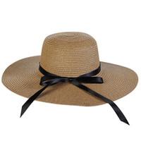 große elegante strohhüte großhandel-Eleganten Stil Sommer große Krempe Strohhut Erwachsene Frauen Mädchen Mode Sonnenhut UV schützen großen Bogen Sommer Strand Jan9