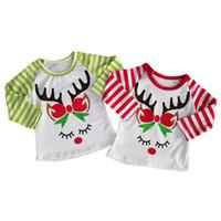 cerf t-shirt achat en gros de-Baby Girl T-shirt Pull rayé enfants Dot manches longues Cerfs citrouille d'Halloween Noël de Père Noël Turquie Thanksgiving Licorne Vêtements de créateurs