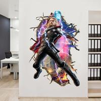 3d wandplakate für zuhause großhandel-Einzelhandel 90 * 60 cm 3d Tapete Avengers Wand Poster für Kinderzimmer Raytheon Home Decor Wandaufkleber Abziehbilder Kinderzimmer Wandkunst dekorative