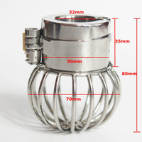 Wholesale stainless ball chastity device online - Male Chastity Device Ball Cage Stainless Steel Scrotum Pendant Full Restraint Ball Stretcher With Spikes BDSM Bondage Sex Toys For Men