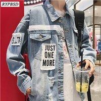 jaqueta coreana azul venda por atacado-Outono 2019 New Blue Jaqueta Jeans Homens Oversize Solto Mens Jaqueta Coreano Moda Casual Manga Comprida Homens Buraco Jaquetas Casaco M-3XL