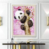 ingrosso olio di tela di canapa dei numeri delle vernici-New Lovely Panda Immagini Incorniciate Pittura By Numbers Gufo DIY Digital Pittura A Olio Su Tela Decorazione Della Casa Wall Art