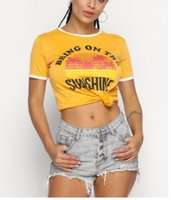 Wholesale new style short tshirts for sale - New Style Women Short Sleeve Cotton Round collar Letters Printing Fashionable Summer Time Casual Simple Tshirts