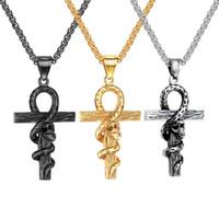 colgante de fundición de acero al por mayor-Gothci para hombre serpiente sinuoso cruz colgantes collar joyería acero inoxidable chapado en oro diseñador diseñador collar joyería religiosa