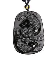 pendentif lotus sculpté achat en gros de-Sculpture en obsidienne de deux poissons et de bijoux en pendentif d'obsidienne noire en lotus