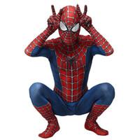 Wholesale spiderman cosplay online – ideas Adult Kids Spider Man Raimi Spiderman Cosplay Costume Zentai Superhero Bodysuit Suit Jumpsuits