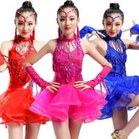 mädchen salsa kostüme großhandel-Pailletten Latin Dance Kleid Tutu Tanzkostüme Kleidung für Tanzen Salsa Tango Ballsaal Baby Mädchen Erwachsene Frau Kostüm Vestidos