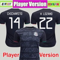 chicharito jersey mexico toptan satış-Oyuncu Sürümü 2019 Meksika Futbol Forması Ulusal Altın Kupa Ev Siyah 19/20 CHICHARITO LOZANO GUARDADO CARLOS VELA RAUL Futbol Gömlek